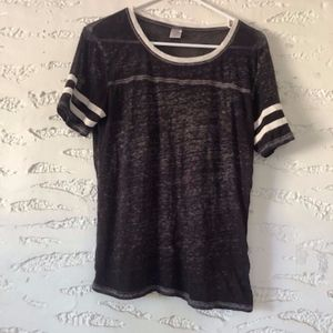 Purpley Gray Ringer Tee - Size S